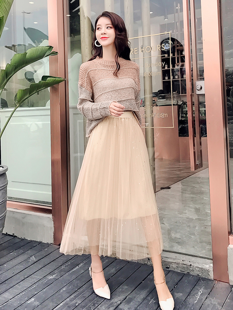 2019 new fashion women's two piece set loose sweater + mesh skirt two-piece suit