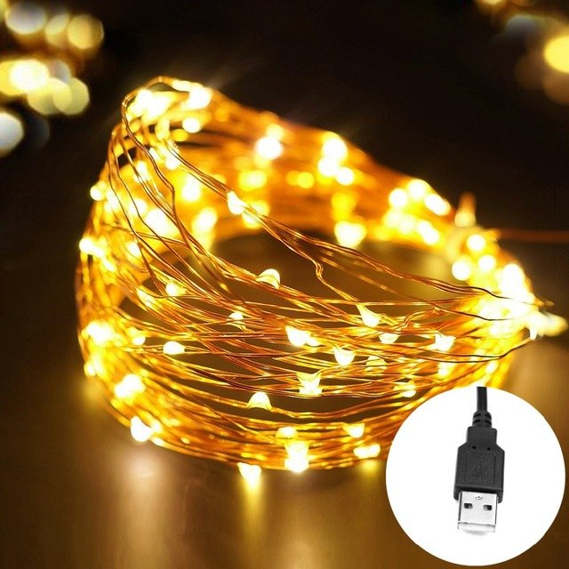 5M 10M USB Christmas LED Strip Light 5V 50 100 LED String Fairy lamp Copper Wire garland Deco light TV PC Wedding Party