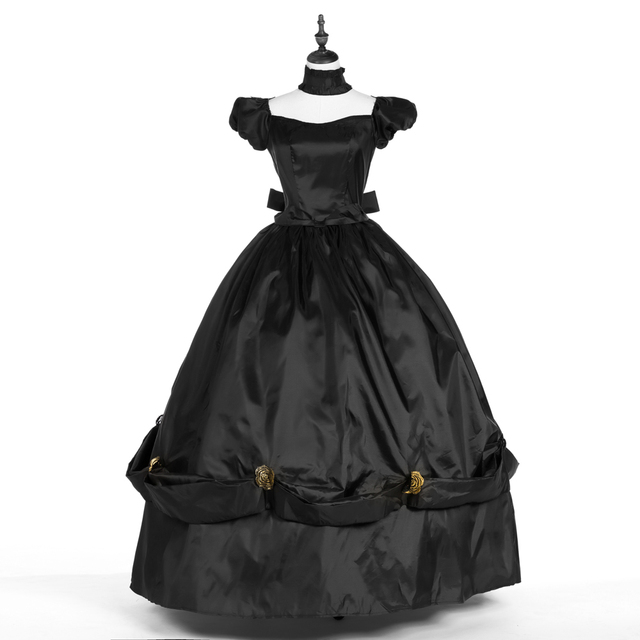 Southern Belle Ball Gown Dress Reenactment Gown Medieval Marie Antoinette Princess Costume Black Large Plus Size