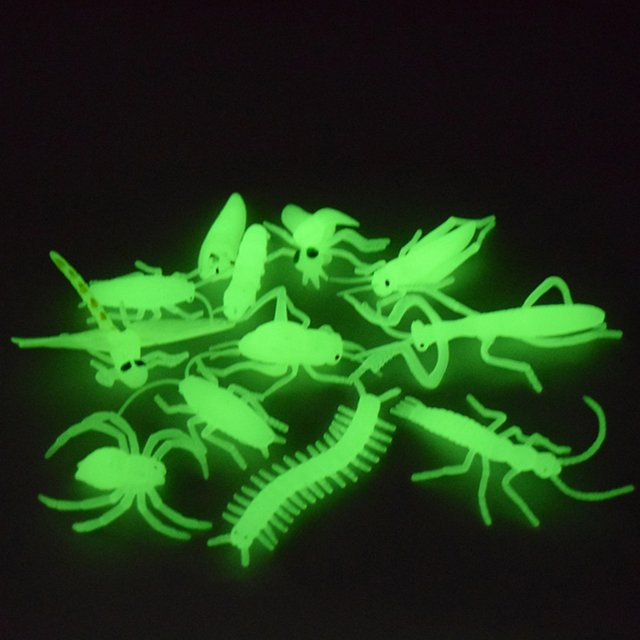 12pcs Funny toys for kids Adults Interesting Anti stress toys Gift Luminous Fluorescent Insect Prank Jokes Simulation Light toy