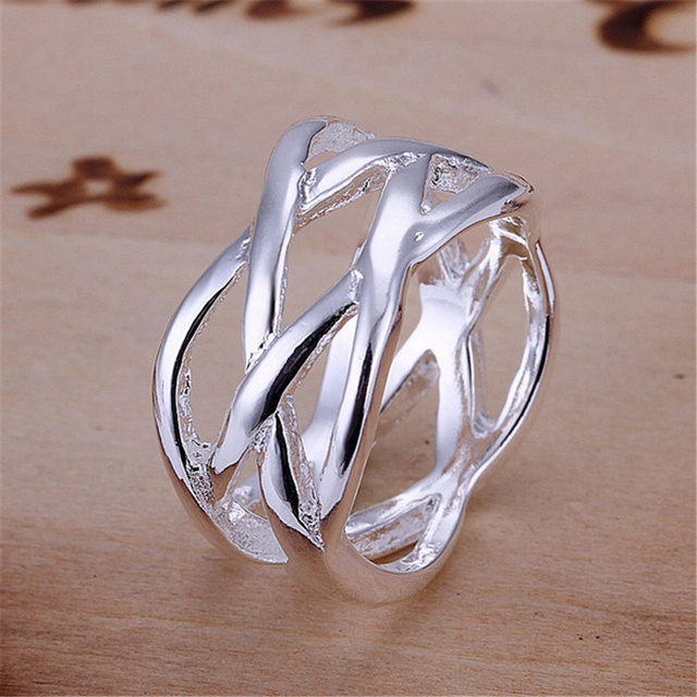 R10 Christmas Sale free shipping wholesale jewelry hollow silver color ring high quality fashion/classic jewelry,antiallergic