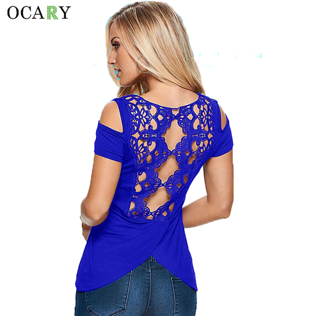 Hollow Out Sexy Women Blouse Lace Patchwork Shirts Off Shoulder Ladies Tops Fashion Summer Blusas Mujer Plus Size Camisa