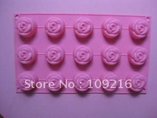 Green Good Quality 100% Food Grade Silicone Cake Mold/Chocolate Mold/Muffin Cupcake Pan 15 holes Rose Mold