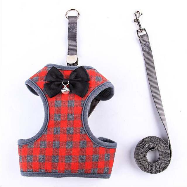 2018 New Lattice Polyester Small Dog Harness Vest Breathable Soft Pet Walking Leads Dog Protected Harness Vest With Leash