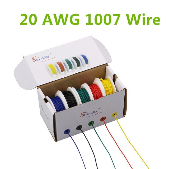 30m UL 1007 20AWG 5 color Mix box 1 box 2 package Electrical Wire Cable Line Airline Copper PCB Wire