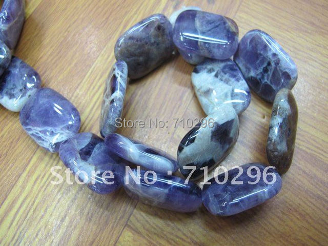 "Natural dog teeth Amethyste 18*25mm Rectangle Semi stone Loose Beads 15""/strand"