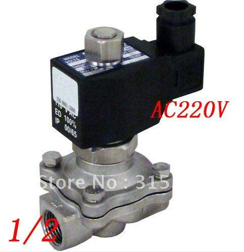 "Free Shipping 5PCS/Lot Water Fuel NC Switch 1/2"" Stainless Steel VITON Electric Solenoid Valve AC220V"