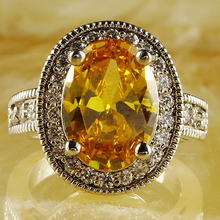 New Fashion Classic Style Champagne Morganite Silver Ring Size 7 Women Jewelry Free Shipping Wholesale