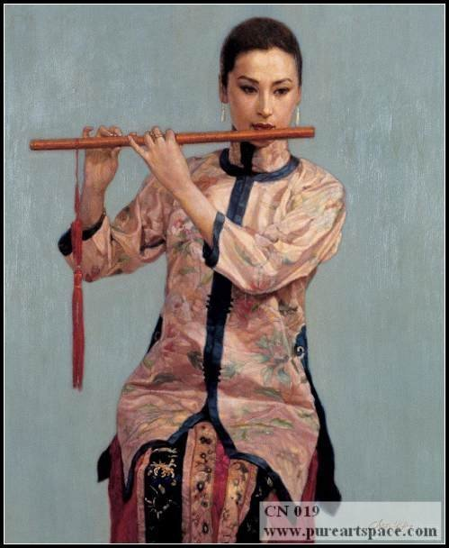 Hand painted chinese woman portrait Decorative Canvas Oil Painting Best For Powder Room Decor And Home Artwork And Gifts