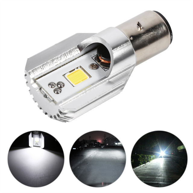BA20D Motorcycle LED Headlight Blub High/Low Beam Light COB Scooter Head Lamp