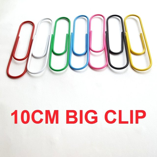 20pcs 10CM Mixed Colors Cute Clip Metal Bag Paper Clips Office School Creative Gift  Green Pink Blue Yellow White Black.. DIY
