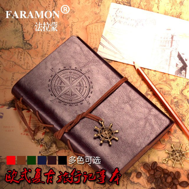 FARAMON Pirate Diary Series Notebook Vintage Notebook A6 Faux Leather Spiral Soft Copybook 1PCS