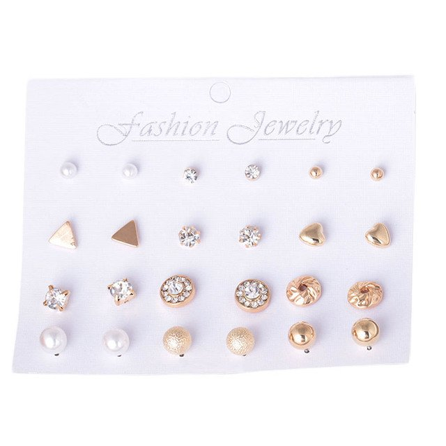 2019 New Triangle Round Bow Small Earrings For Women Hot Selling And Set Up A Stylish Pearl Nail Suit 12 Pieces Of MixedEarrings