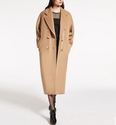 Arlene sain women  Autumn and winter new camel cashmere coat  double breasts long section profile thickened cashmere trench 007