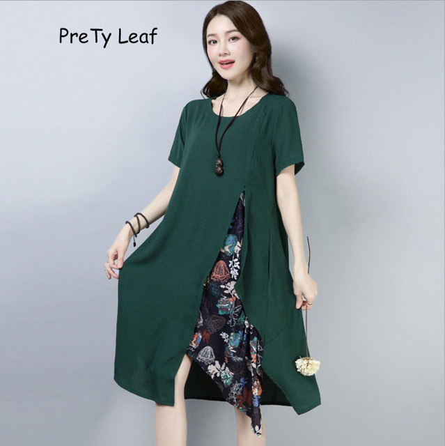 2018 Summer new national style loose printed cotton and linen dress