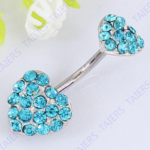 Double Heart Crystal belly bar body piercing jewelry Retail Lady Navel ring 14G 316L surgical steel bar Nickel-free