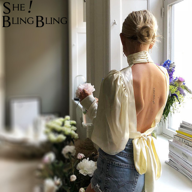 Sheblingbling Turtleneck Long Sleeve Solid Color Women Fashion Spring Autumn Back Hollow Out Lace Up Female T Shirt