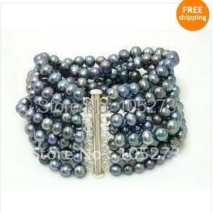 Charming!8Rows Pearl bracelet AA 6-7MM  Black color Genuine Freshwater pearl bracelet Pearl jewelry Free shipping Wholesale FN52