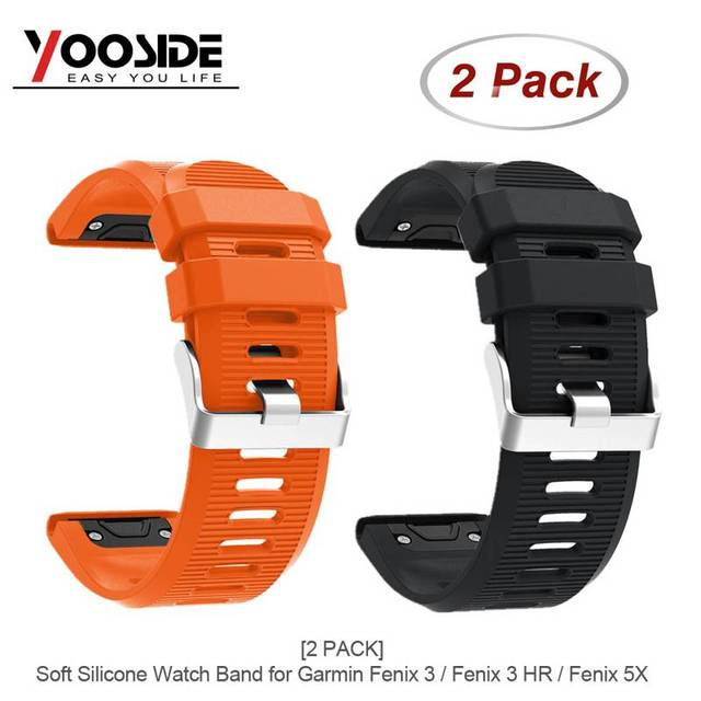 2-PACK Silicone 26mm Easy Quick Fit Sport Watch Band Strap for Garmin Fenix 5X/Fenix 3/3 HR/D2 Charlie/ Descent Mk1 Wristband