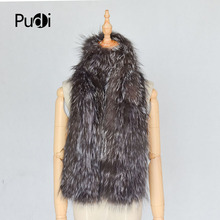 Pudi women real fox fur winter warm scarf ring 2018 brand new genuine silver fox fur scarves rings SF843