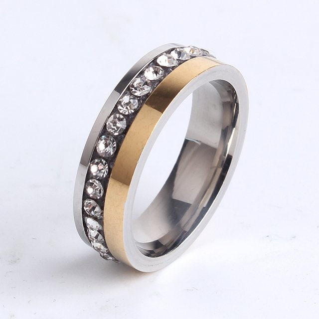 6mm gold silver double color single rhinestone 316l Stainless Steel finger rings for women men wholesale