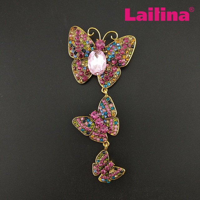 Free Shipping Large rhinestone BUTTERFLY brooch