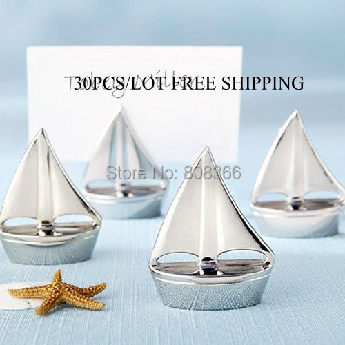 "(30pcs/lot)  ""Shining Sails"" Silver Place Card Holders with matching card For nautical themed event Romantic wedding Decorations"