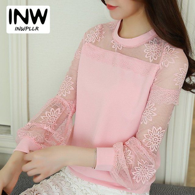 Plus Size Long Sleeve Women Chiffon Blouses Pink Lace Patchwork Tops Hollow Out Blusas Femininas 2017 Fashion Femme Shirts