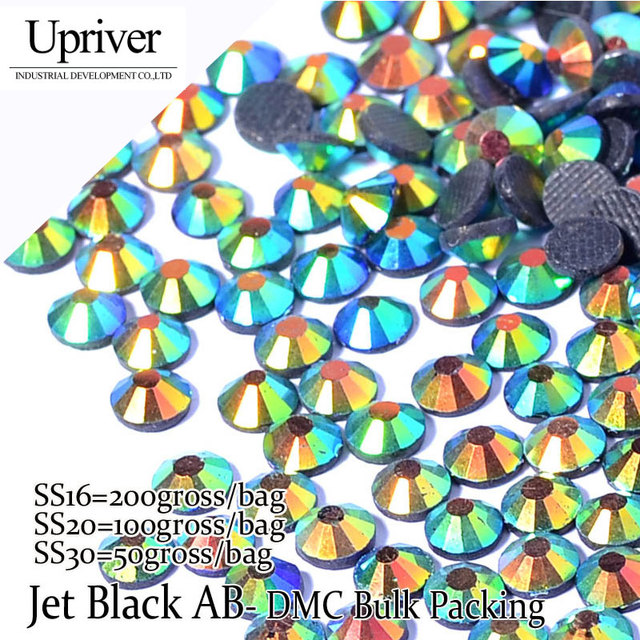 Upriver Wholesale Large Pack Best Quality Shiny Stones More Cheaper SS6 SS10 SS16 SS20 SS30 Jet Black AB Hotfix Rhinestones
