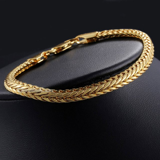 Davieslee 6mm 20cm Foxtail Link Bracelet for Men Women's Bracelet Gold Rose Gold Filled Jewelry DLGB327-329
