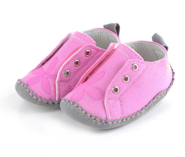 baby girls shoes canvas fuchsia soft sole shoes handsewing handmade floral print elastic closure little kids shoe