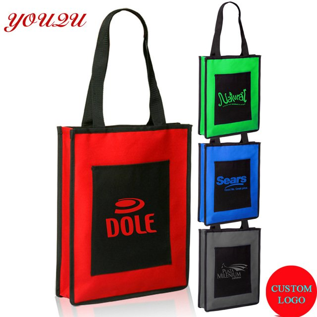 Non woven bag with front pocket can add logo printing best choice for promotion