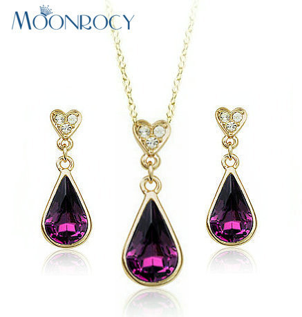 MOONROCY Free Shipping Rose Gold Color Austrian Purple Crystal Jewelry Set Waterdrop Necklace and Ering for women Gift