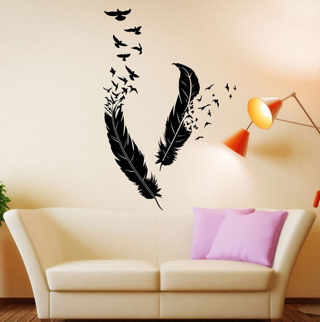 Free Shipping Abstract Vinyl Wall Decal Feathers Flying Birds Mural Art Wall Sticker Living Room Bedroom Home Decoration