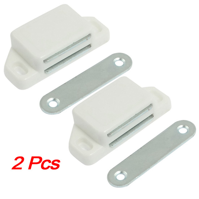 NFLC New 2 Pcs Practical Plastic Cabinet Cupboard Door Magnetic White Latch Catch