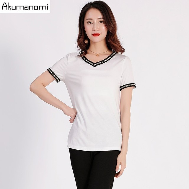 Summer White T-shirt Women Plus Size 5xl-m V-neck Pearl Short Sleeve Tshirt Tassel Free Shipping Camiseta Mujer Tee Shirt Femme