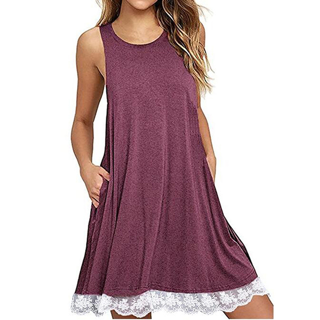 New Style Summer Women Casual Loose Beach Dress O-Neck Sleeveless Tank Dresses Robe Sexy Ladies Fashion Lace Patchwork Dress