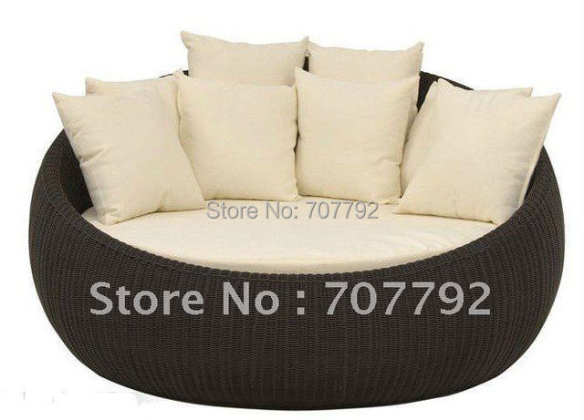 Hot sale SG-7008 Elegant black rattan outdoor furniture with 6 cushions
