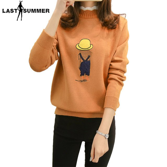 New  Fashion 2020 Women Autumn Winter  Embroidery Cartoon Sweater Pullovers Casual Warm Female Knitted Sweaters Pullover  Lady
