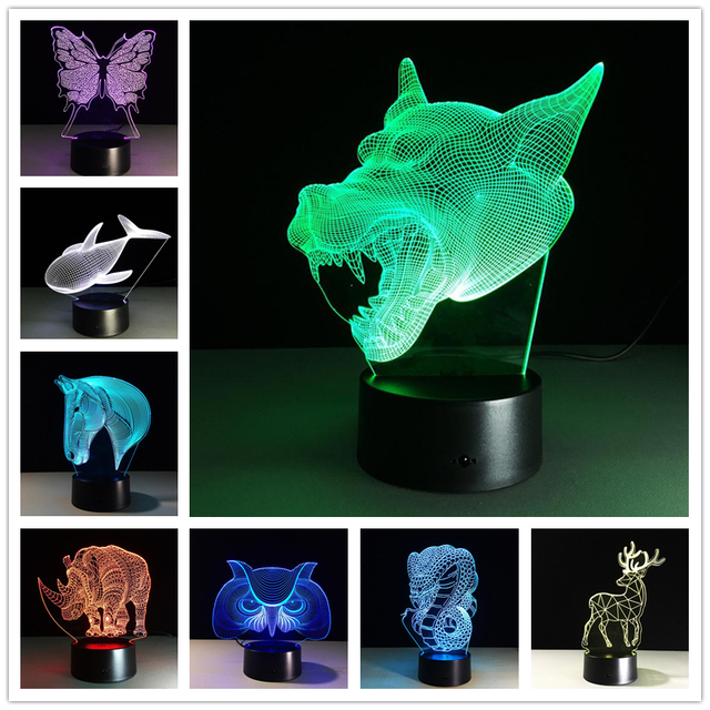 2017 Creative Gifts Animal Lamp 3D Night Light Fish USB Led Table Desk Lampara as Home Decor Bedroom Reading Nightlight