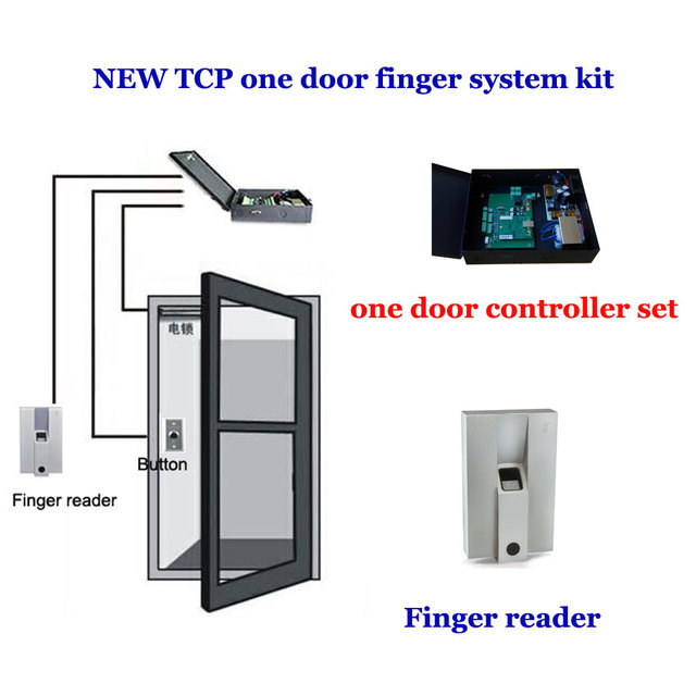 TCP/IP one door access system kit. finger Door access controller,power,exit button,Finger reader ,10pcs different finger,TFP-01