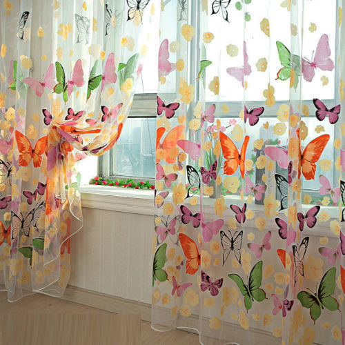 Lovely Hot Sales Butterfly Print Sheer Voile Curtain Door Window Decor Panel Room Divider Butterfly Printed Sheer Set