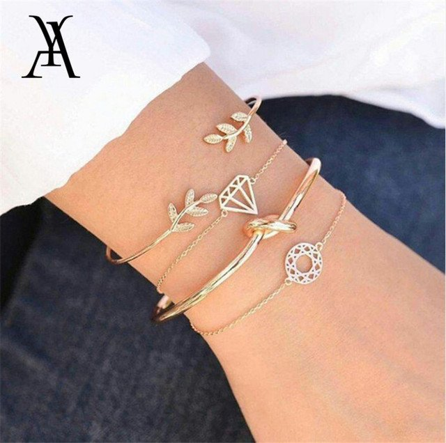 4 Pcs Fashion Crystal Round Leaf Charm Multi-layer Bracelets For Women Gold Color Crystal Letter Triangle Bangles Jewelry Gift