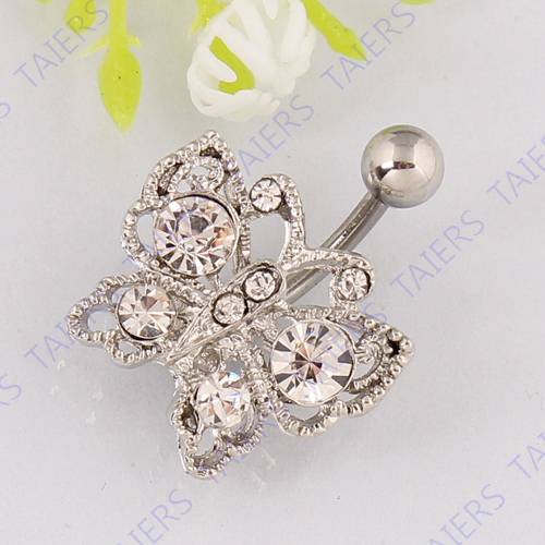 Free shipping Butterfly belly ring body piercing jewelry Retail Navel bar 14G 316L surgical steel bar Nickel-free TAIERS