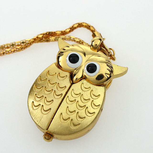 10PCS Vintage Bronze Retro Slide Smart Quartz Pocket Watch Owl Pendant Long Necklace Fob Watch