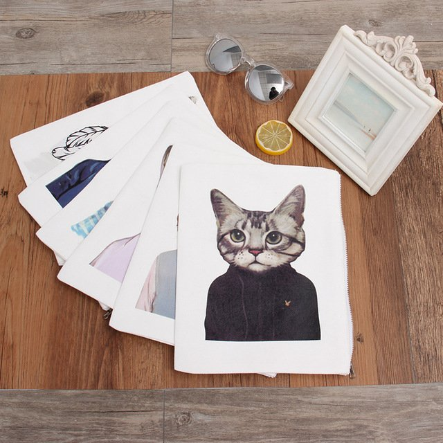 YILE New Cotton White Canvas Printed Cat Handbag Casual Clutch Phone Coin Key Bag With Zipper + Lining P015A35