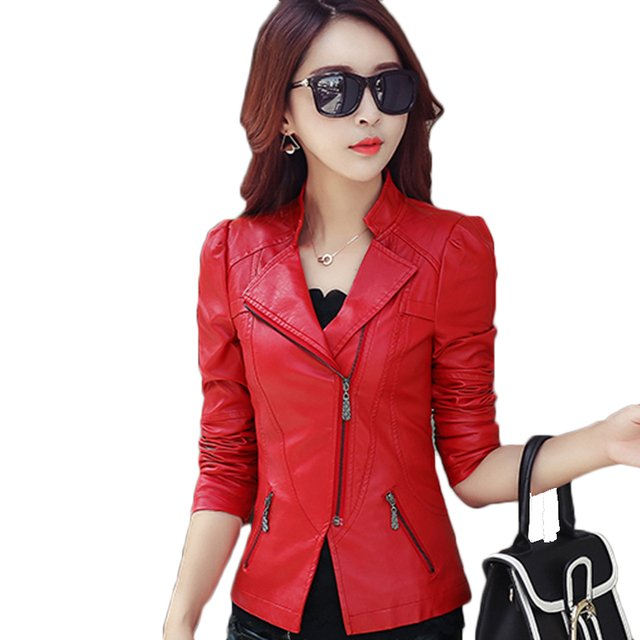 Fashion PU Leather Jacket Women Soft Faux Leather Coat Short Slim Black Motorcycle Jackets 2019 Spring Autumn Plus Size 5xl 6xl