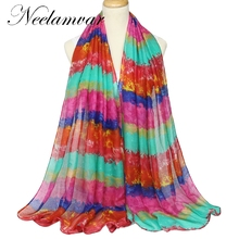 Neelamvar New Rainbow colorful  Scarf and Wrap for Women  Beach Shawl Voile  cotton scarf free shipping