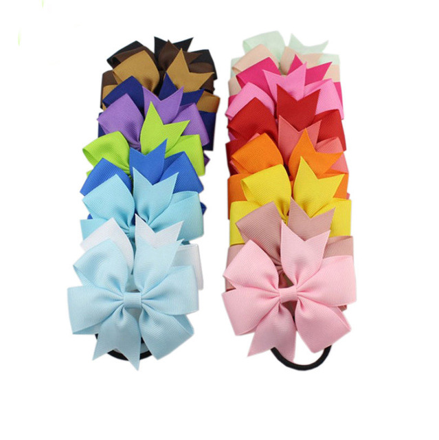 Fashion 1pc Colorful Ribbon Bow Elastic Hair Bands 20 Colors Cute Rope Hair Accessories Gift NEW Baby Sale Popular Children