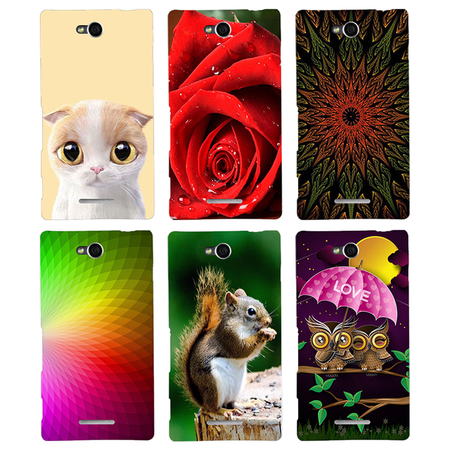 Case For Sony Xperia C S39H C2305 Back Cover Flower Plants Original Hard Plastic Printed Cat Hamster Animal Cartoon Phone Case